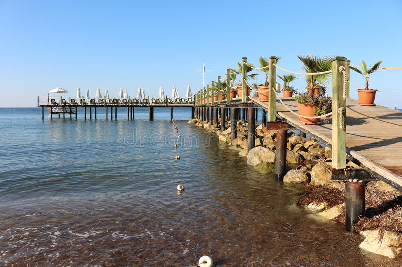 Pier in tropic paradise royalty free stock photo