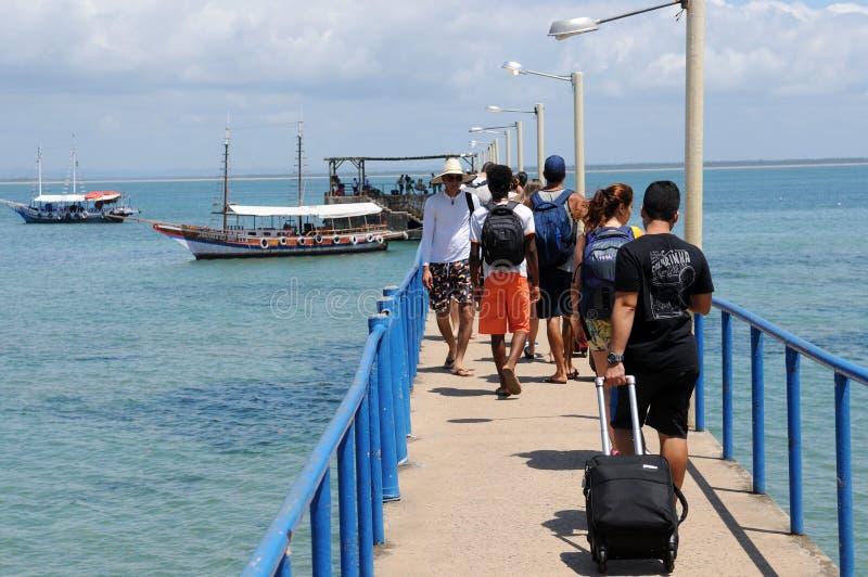 Pier vom Strand von Barra Grande lizenzfreies stockfoto