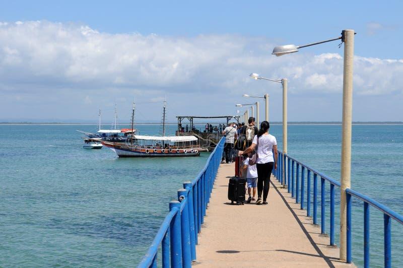 Pier vom Strand von Barra Grande lizenzfreie stockbilder