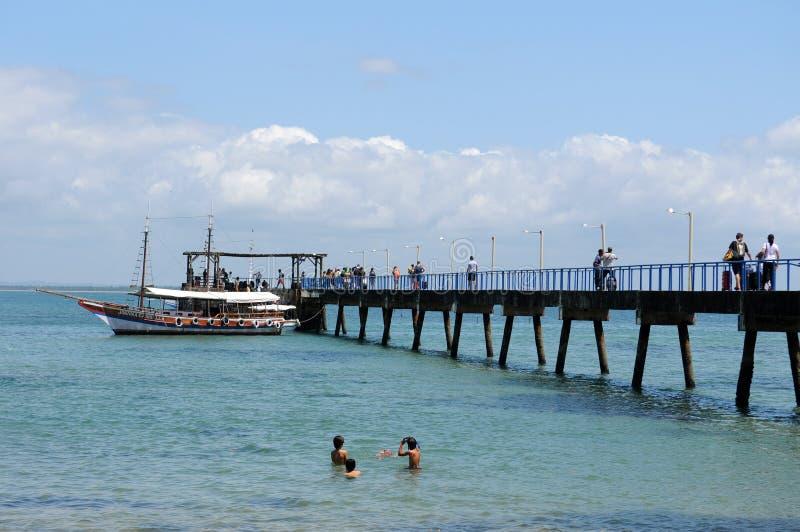 Pier vom Strand von Barra Grande lizenzfreies stockbild
