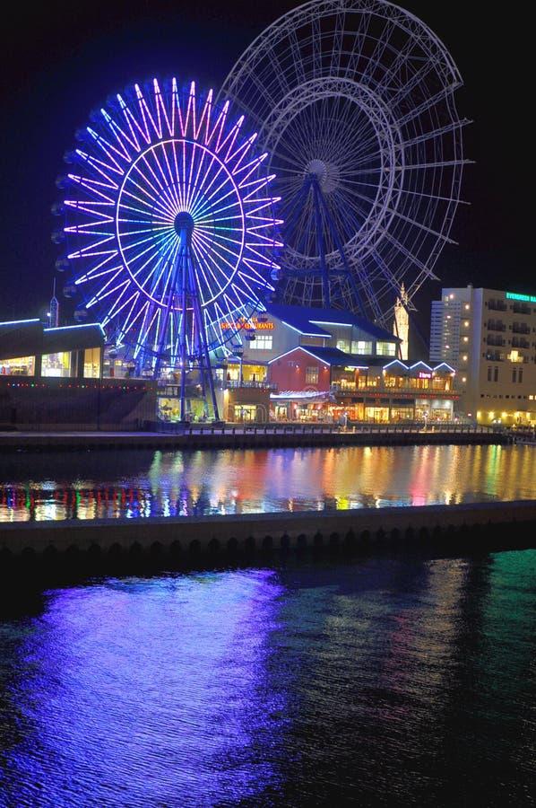 Pier Walk in Fukuoka, Japan. A ferris wheel and river's light reflections at premium factory outlet in the Pier Walk of Marinoa, Fukuoka royalty free stock photos
