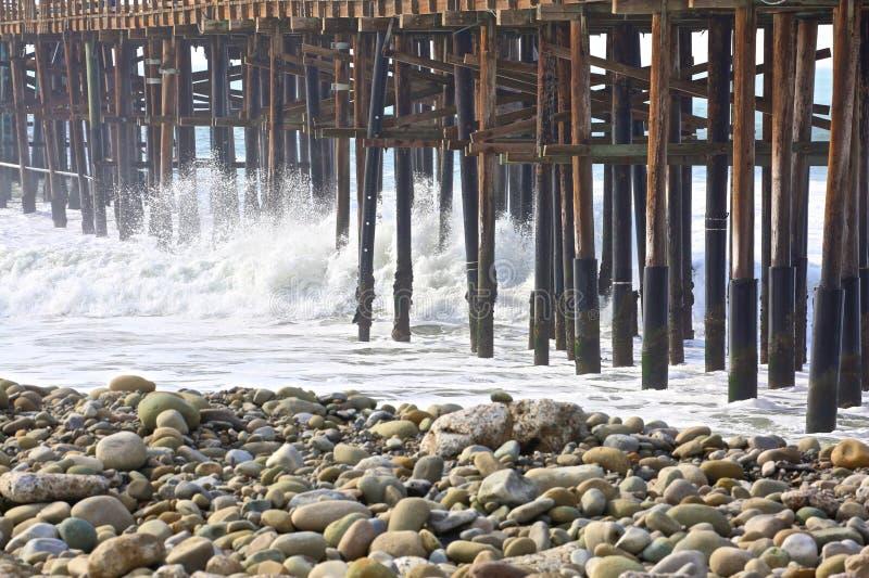Pier waves Ventura California royalty free stock photos