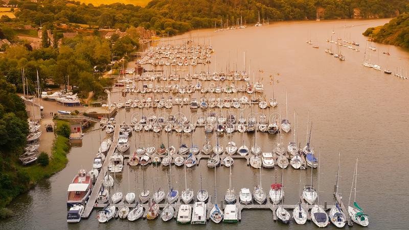 Pier of yachts and ships in Rochefort - en - Terre. River in Brittany. France royalty free stock photo