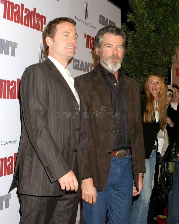 Pierce Brosnan, Greg Kinnear obrazy stock