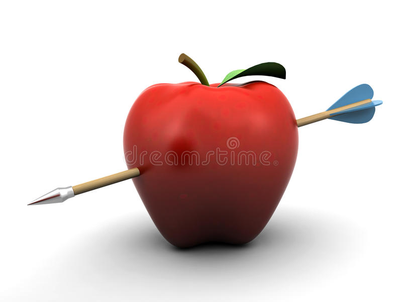 Pierced apple. Apple pierced with an arrow, on the white background (3d render vector illustration