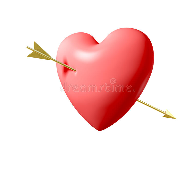 Download Pierced Heart stock illustration. Image of pink, gold - 22965218