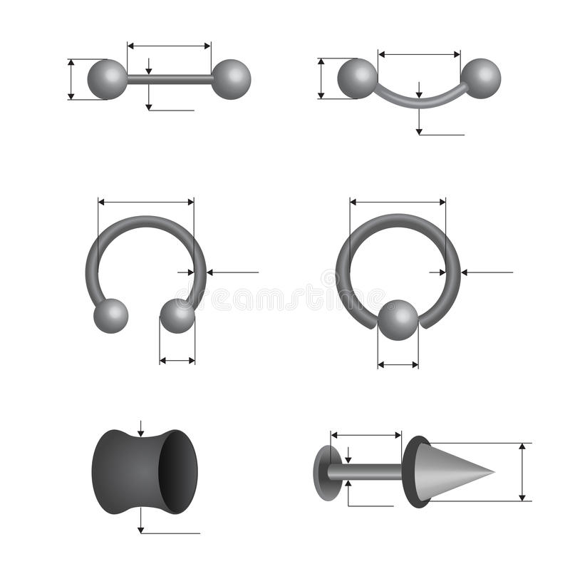 Download Piercing set stock illustration. Illustration of spheres - 28410076