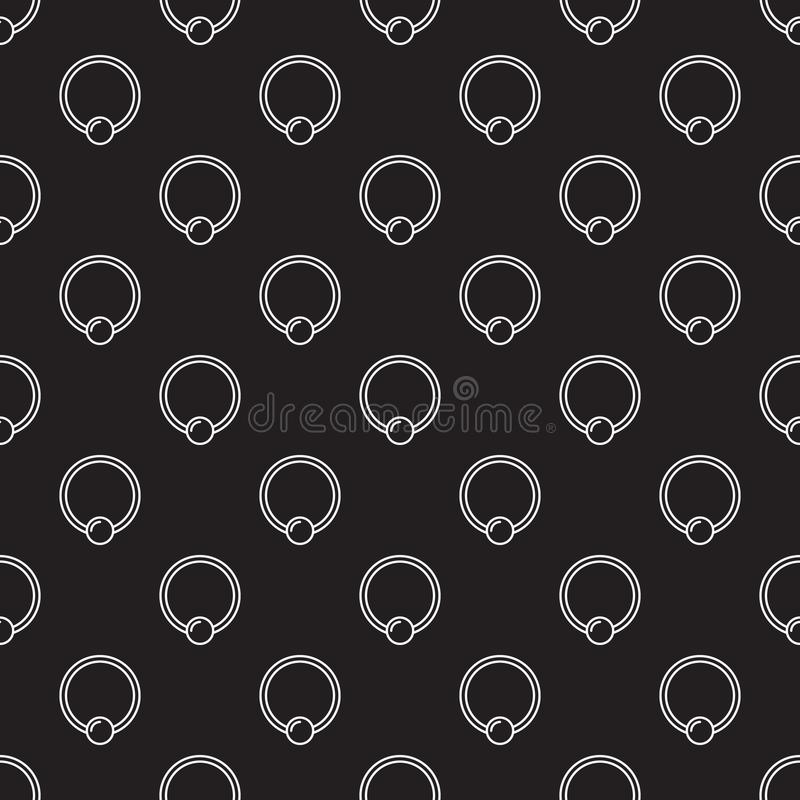 Piercing vector seamless pattern made with captive ring icons. Piercing jewelry dark vector seamless pattern made with outline captive ring icons vector illustration
