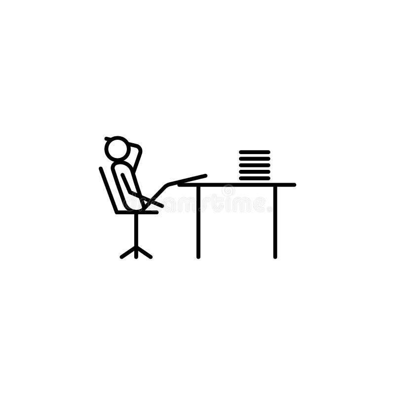 pierda el tiempo en el icono del esquema del trabajo Elemento del icono perezoso de la persona para los apps móviles del concepto libre illustration