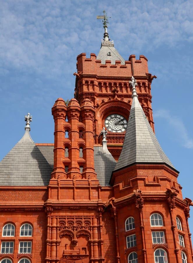 Pierhead大厦哥特式细节加的夫威尔士 免版税库存照片