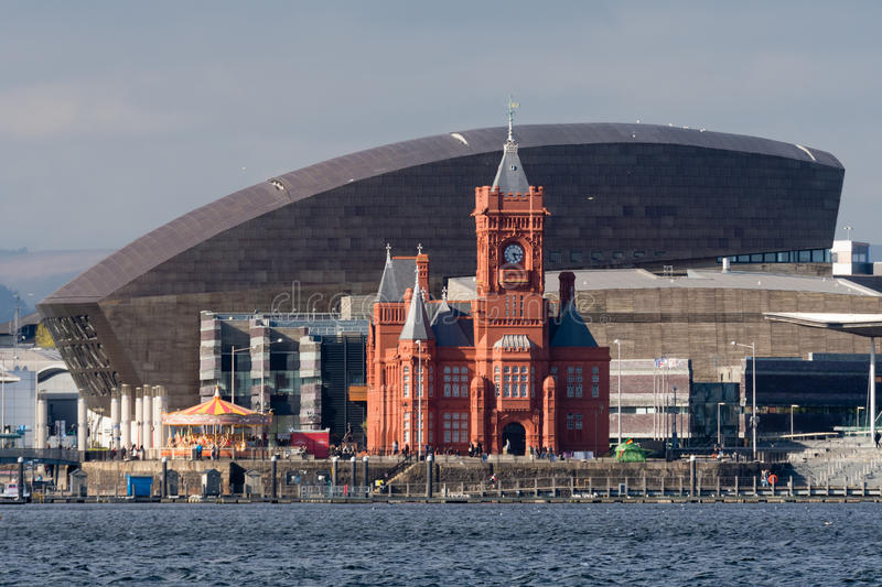 Pierhead Building and Wales Millenium Centre in Cardiff. Grade I listed building of the National Assembly for Wales in Cardiff Bay, Wales, UK stock photo