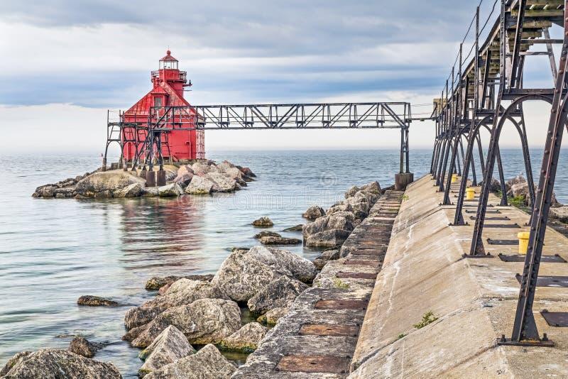 Pierhead för kanal för störfjärdskepp norr ljus arkivfoton