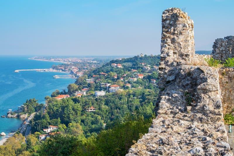 Pieria coastline. Macedonia, Greece. View from Platamonas castle to Aegean Sea coast. Pieria, Macedonia, Greece stock photography
