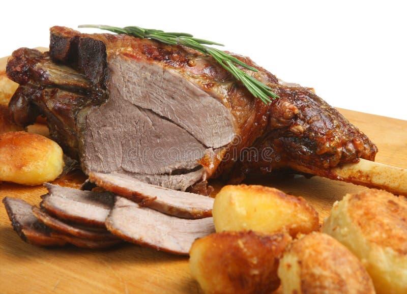 Pierna de la carne asada del cordero imagen de archivo