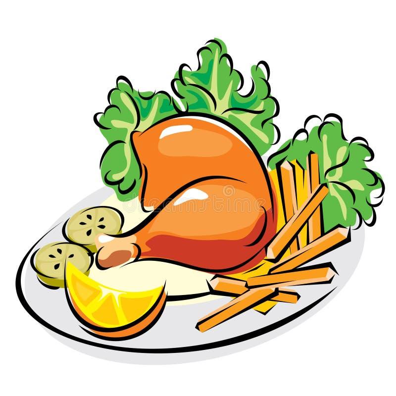 Pierna de pollo ilustración del vector