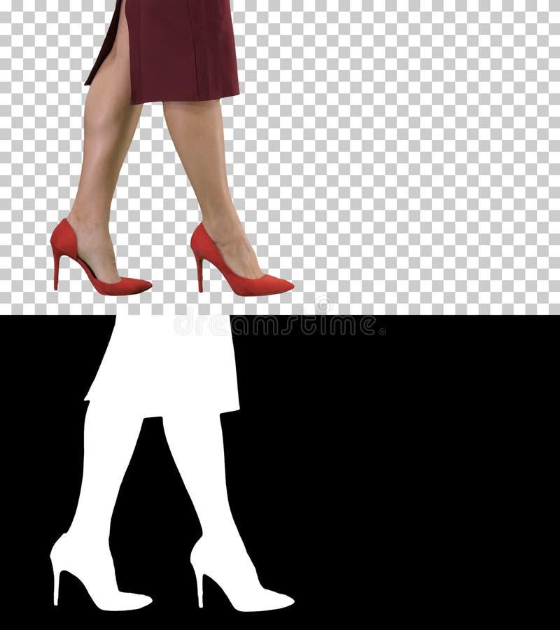 Piernas atractivas de la mujer en los talones rojos que caminan a señora del negocio, Alpha Channel fotos de archivo