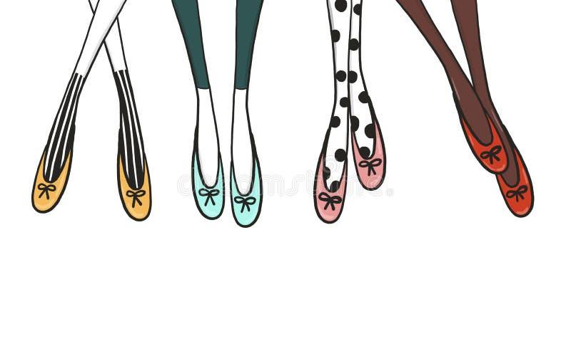 Piernas de la cuadrilla de las muchachas stock de ilustración