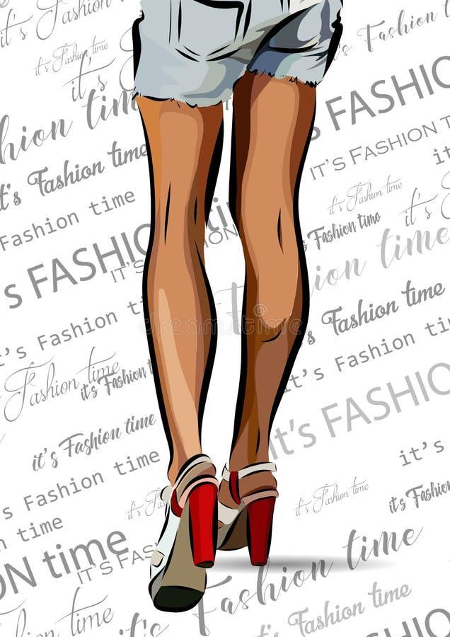 Piernas de la mujer con los zapatos rojos Ejemplo EPS del vector ilustración del vector