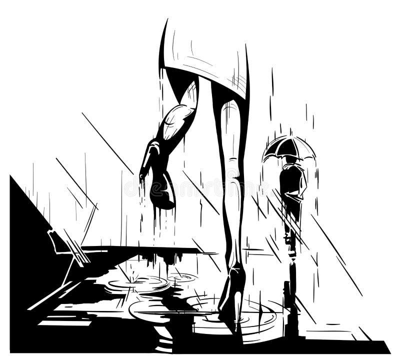 Piernas de la mujer que caminan encima de pasos en un día lluvioso libre illustration