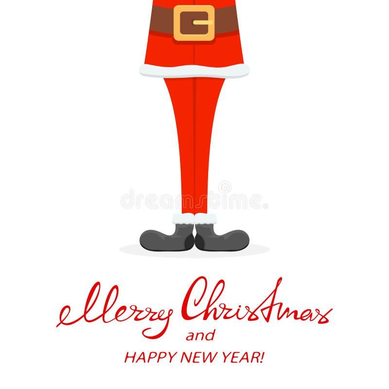 Piernas de Papá Noel en zapatos negros stock de ilustración