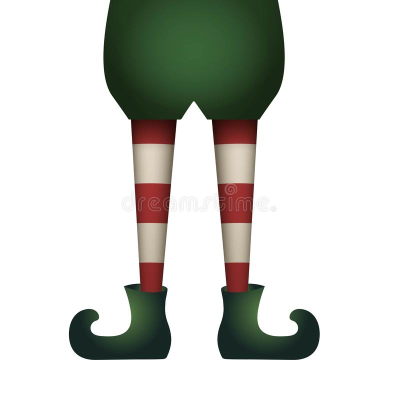 Piernas del duende de la Navidad aisladas en el fondo blanco ilustración del vector