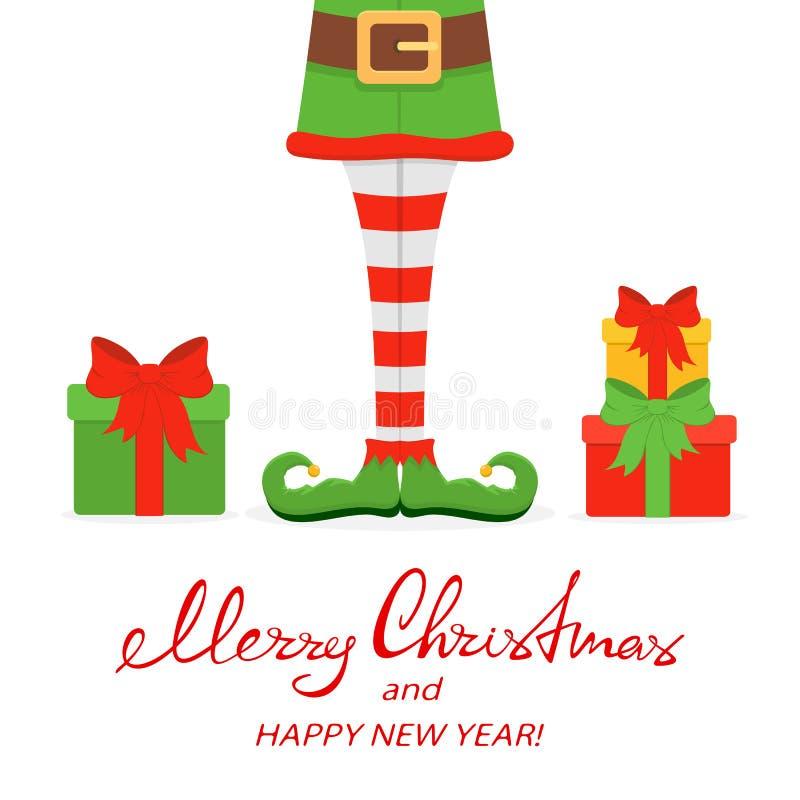 Piernas del duende en zapatos verdes con los regalos de Navidad libre illustration