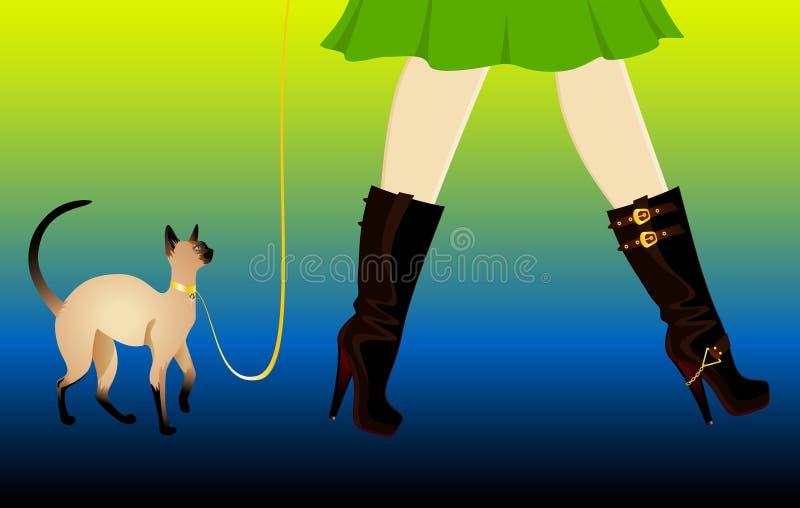 Piernas en zapatos con el gato libre illustration