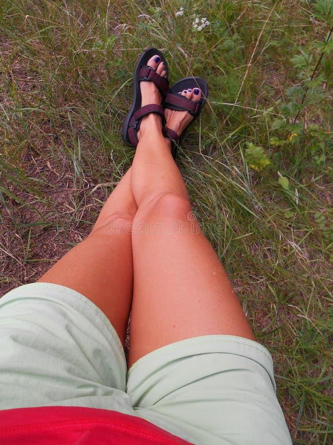 Piernas femeninas en el viaje de la hierba verde fotos de archivo