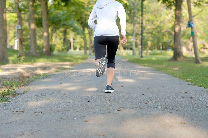 Piernas jovenes de la mujer de la aptitud que caminan en el parque al aire libre, el corredor femenino que corre en el camino afu foto de archivo