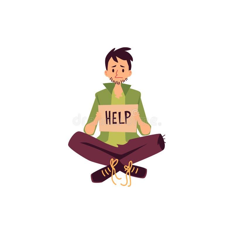 Piernas que se sientan del hombre sin hogar cruzadas y que celebran la ayuda que pide estilo de la historieta de la muestra libre illustration