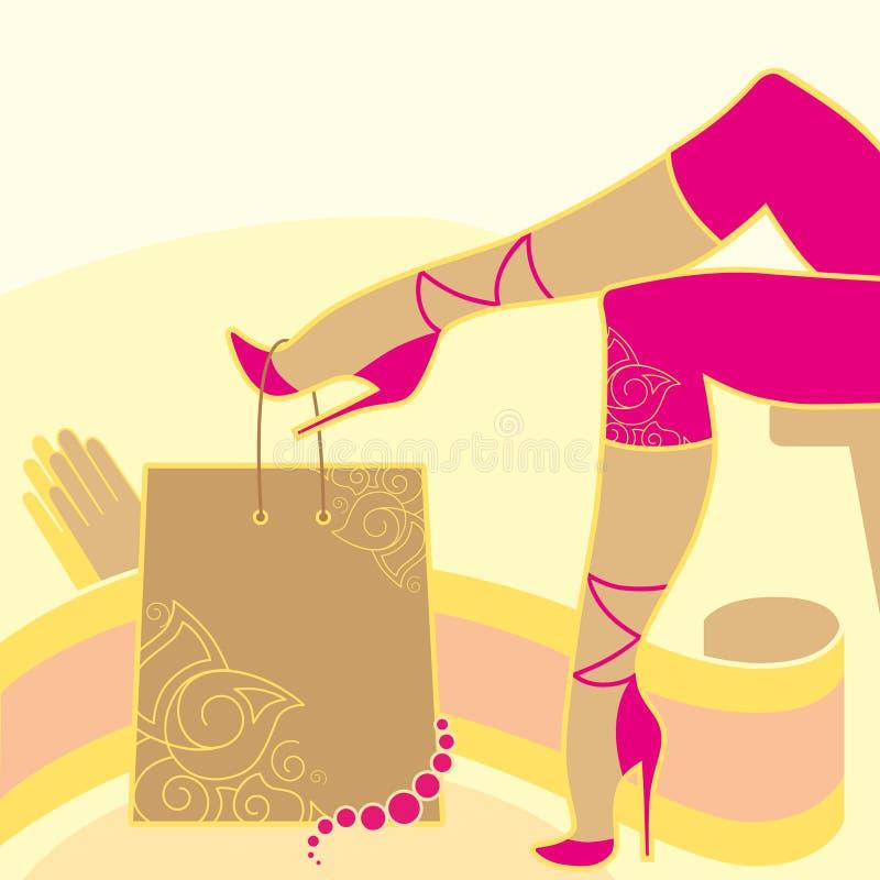 Piernas y accesorios de la mujer stock de ilustración