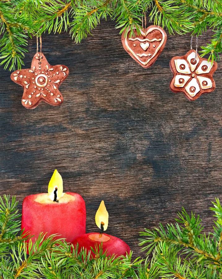 Piernikowi bożych narodzeń ciastka, jedlinowe gałąź, świeczki Kartka bożonarodzeniowa, pusty puste miejsce przy drewnianym tłem a royalty ilustracja