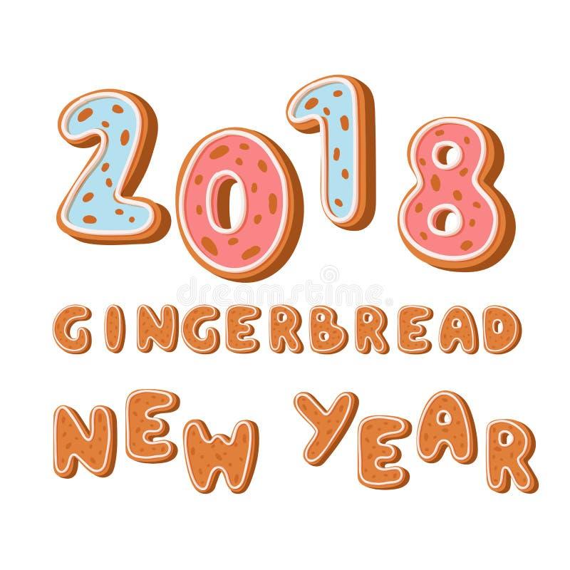 Piernikowi ciastka 2018 wakacji ciastka chrzcielnicy imbirowego teksta ciastka xmas listu wektoru karmowa ilustracja ilustracji