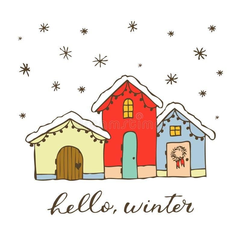 Piernikowy boże narodzenie dom Projektuje element dla dekoracji, projekta, kartek z pozdrowieniami i zaproszeń zimy, Odizolowywaj ilustracji