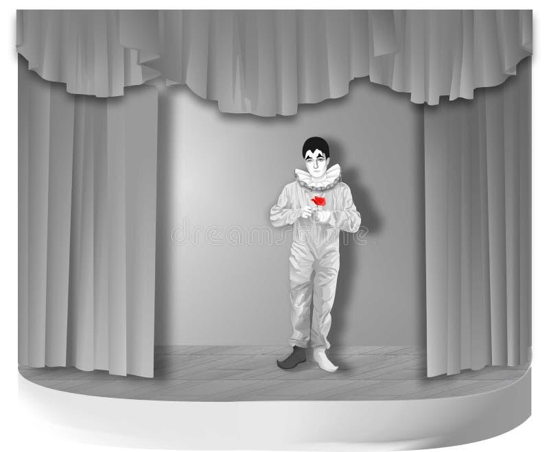 Piero con la flor en etapa foto de archivo libre de regalías