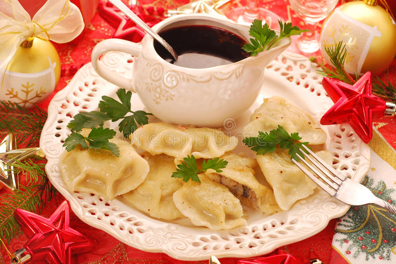 Pierogi and barszcz for christmas stock photos