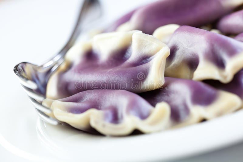 Pierogi with bilberries. Polish cuisine stock photo