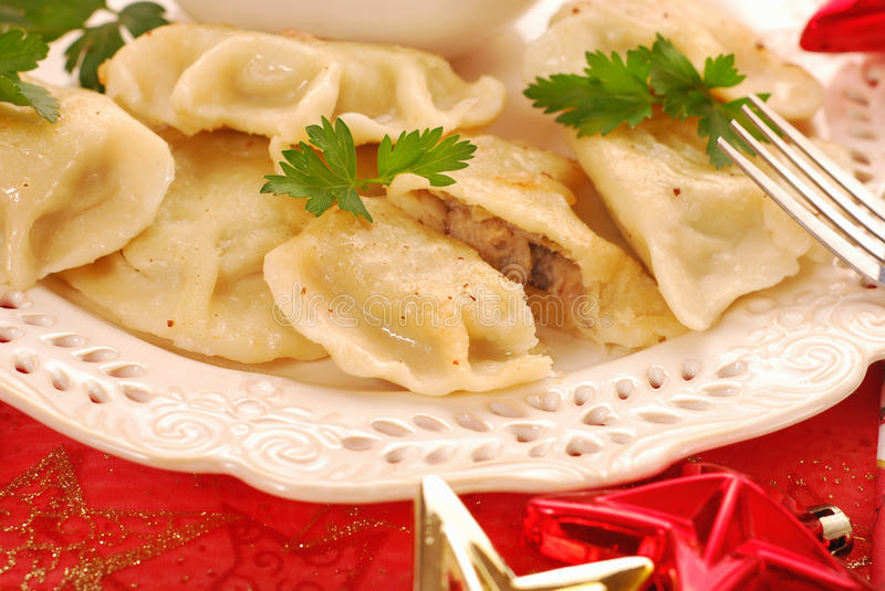 Pierogi with mushroom and cabbage for christmas royalty free stock images