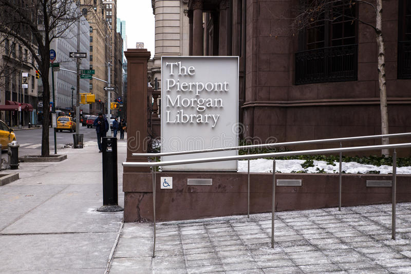 Pierpont Morgan Library Museum NYC. NEW YORK CITY - FEBRUARY 21, 2015: View from sidewalk of historic Pierpont Morgan Library museum in Midtown Manhattan stock photography