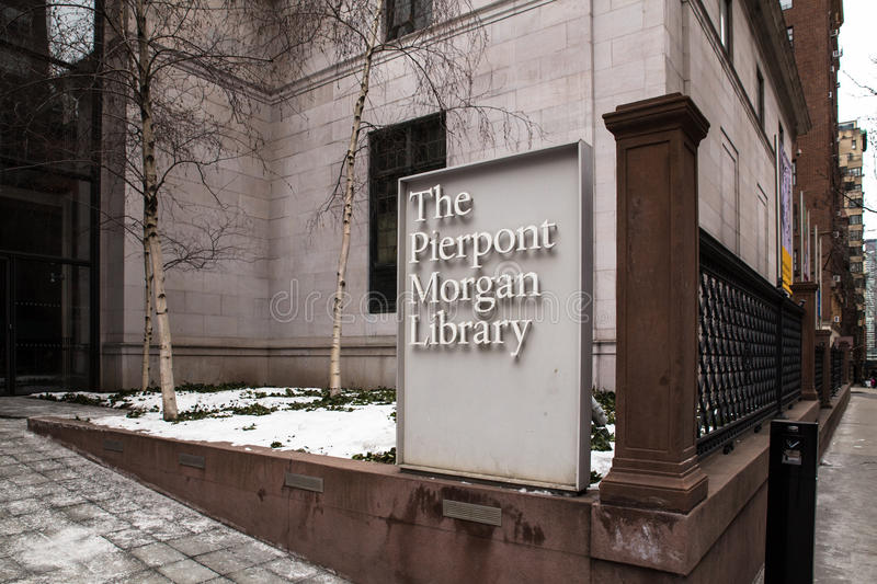 Pierpont Morgan Library Museum NYC. NEW YORK CITY - FEBRUARY 21, 2015: View from sidewalk of historic Pierpont Morgan Library museum in Midtown Manhattan stock image