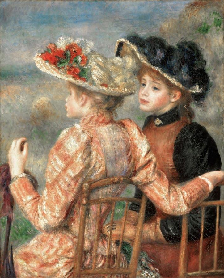 Pierre -Pierre-auguste Renoir, het Frans, 1841-1919 -- Twee Meisjes royalty-vrije stock afbeeldingen