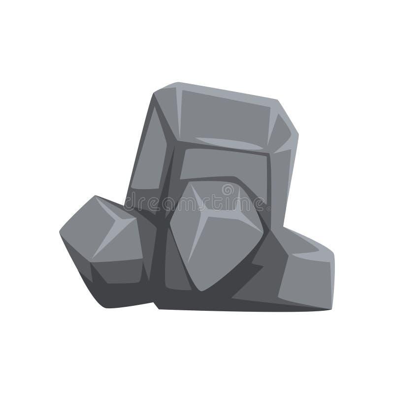 Pierre avec des lumières et des ombres Morceau de roche de montagne Rocher massif gris Objet de vecteur pour la carte ou le paysa illustration stock