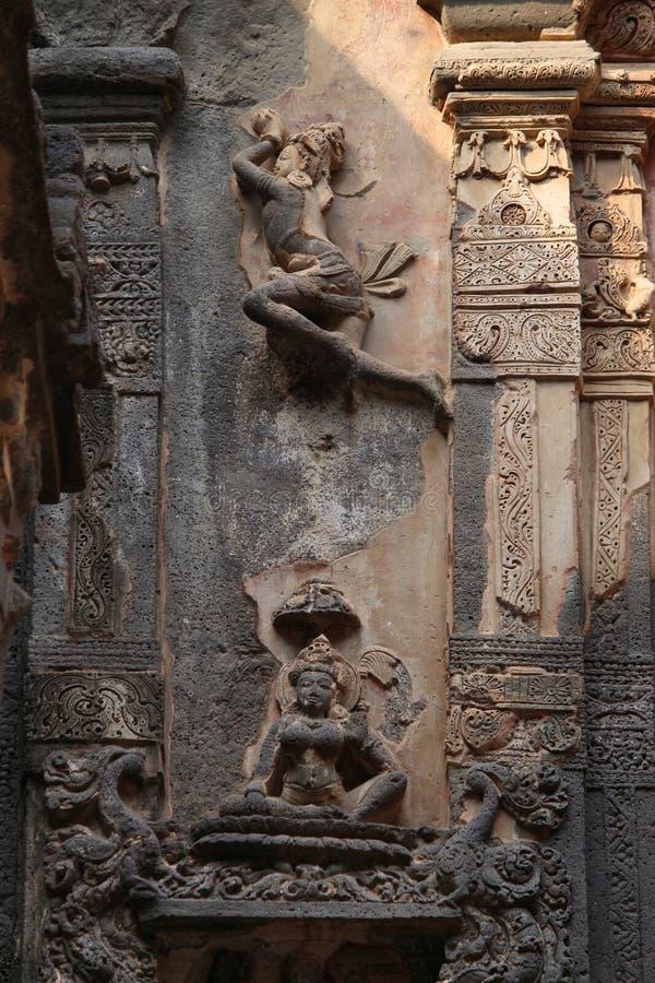 Pierre découpant, temple de Kailashnath, caverne 16, Ellora Caves, Aurangabad, maharashtra image libre de droits