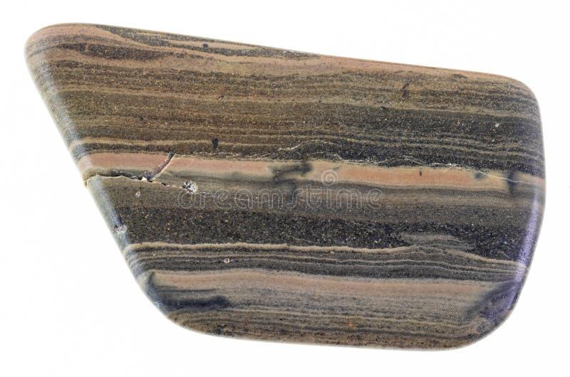 pierre dégringolée de schiste de marne (marlstone) sur le blanc images stock