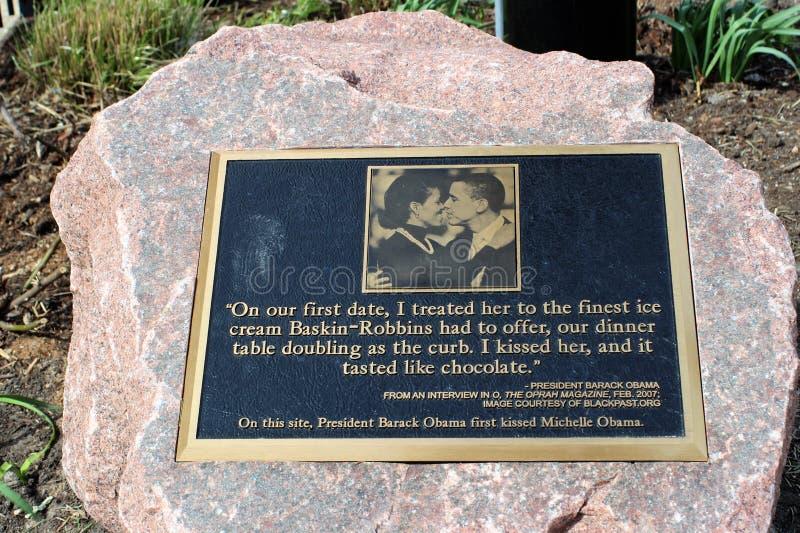 Pierre de baiser d'Obama, Chicago photos stock