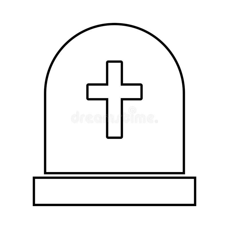 Pierre de tombe c'est icône noire illustration stock