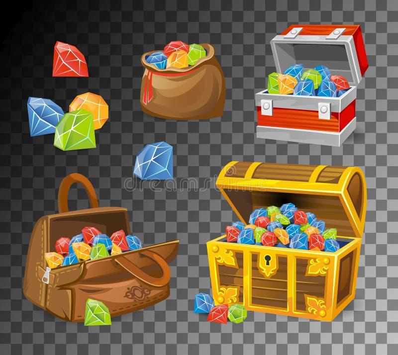 Pierre gemme et ensemble de coffres en cristal sur le fond transparent Coffres d'argent de bande dessinée pour les jeux, les livr illustration stock