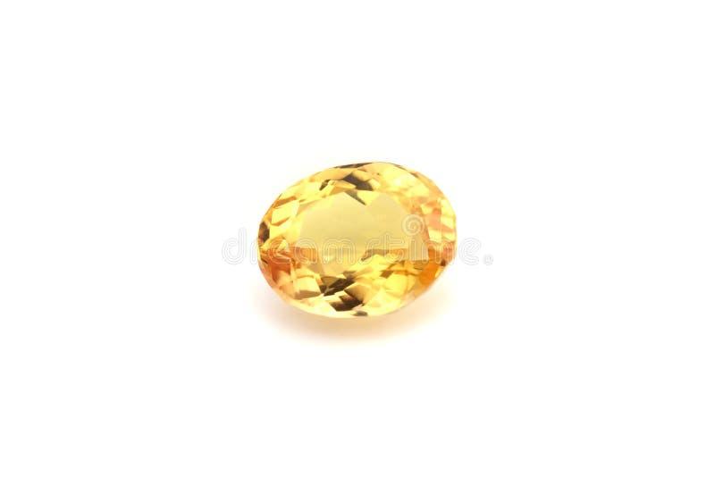 Pierre gemme jaune naturelle de saphir photo stock
