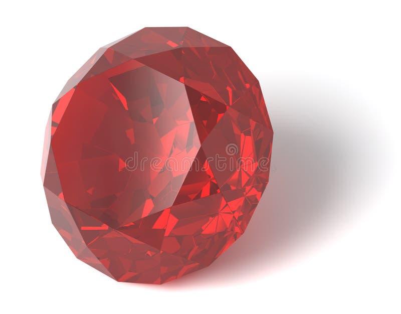 Pierre gemme rouge/d'isolement illustration stock