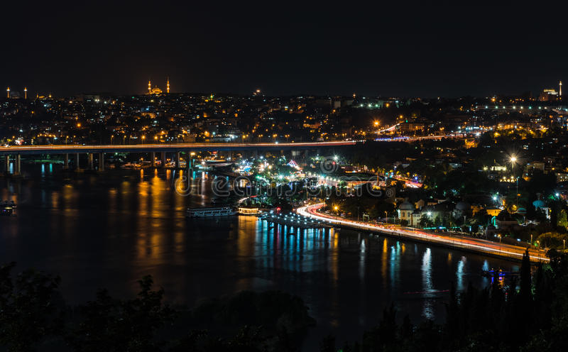 Pierre Loti wzgórza nocy widok Istanbuł fotografia stock